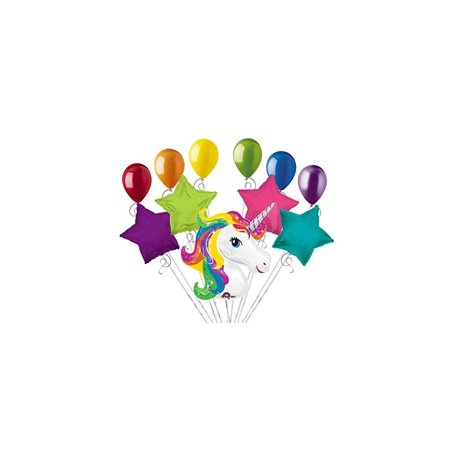 11pc bright rainbow unicorn happy birthday balloon bouquet