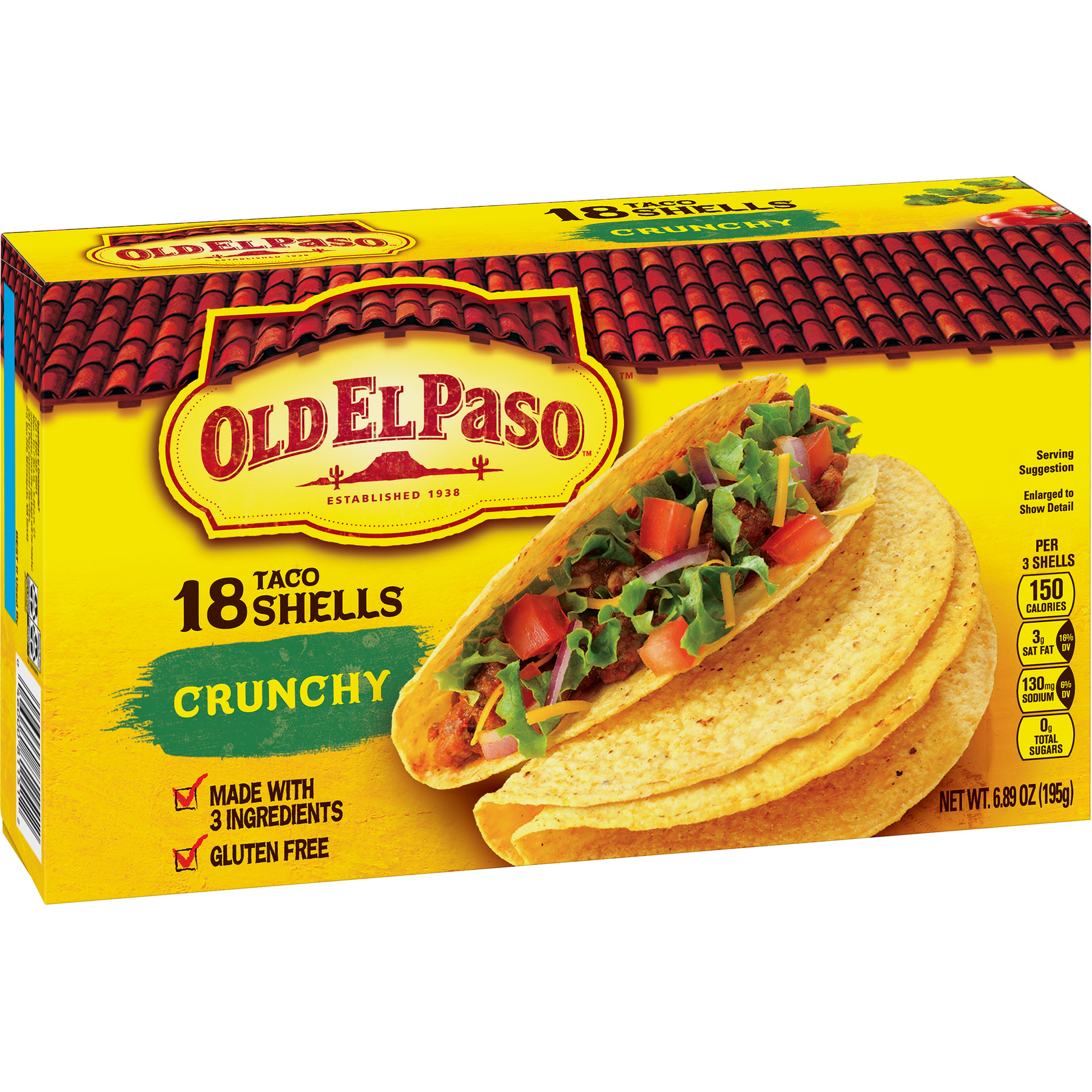 Old El Paso Crunchy Shells, 6.89 oz, 18 Count Box