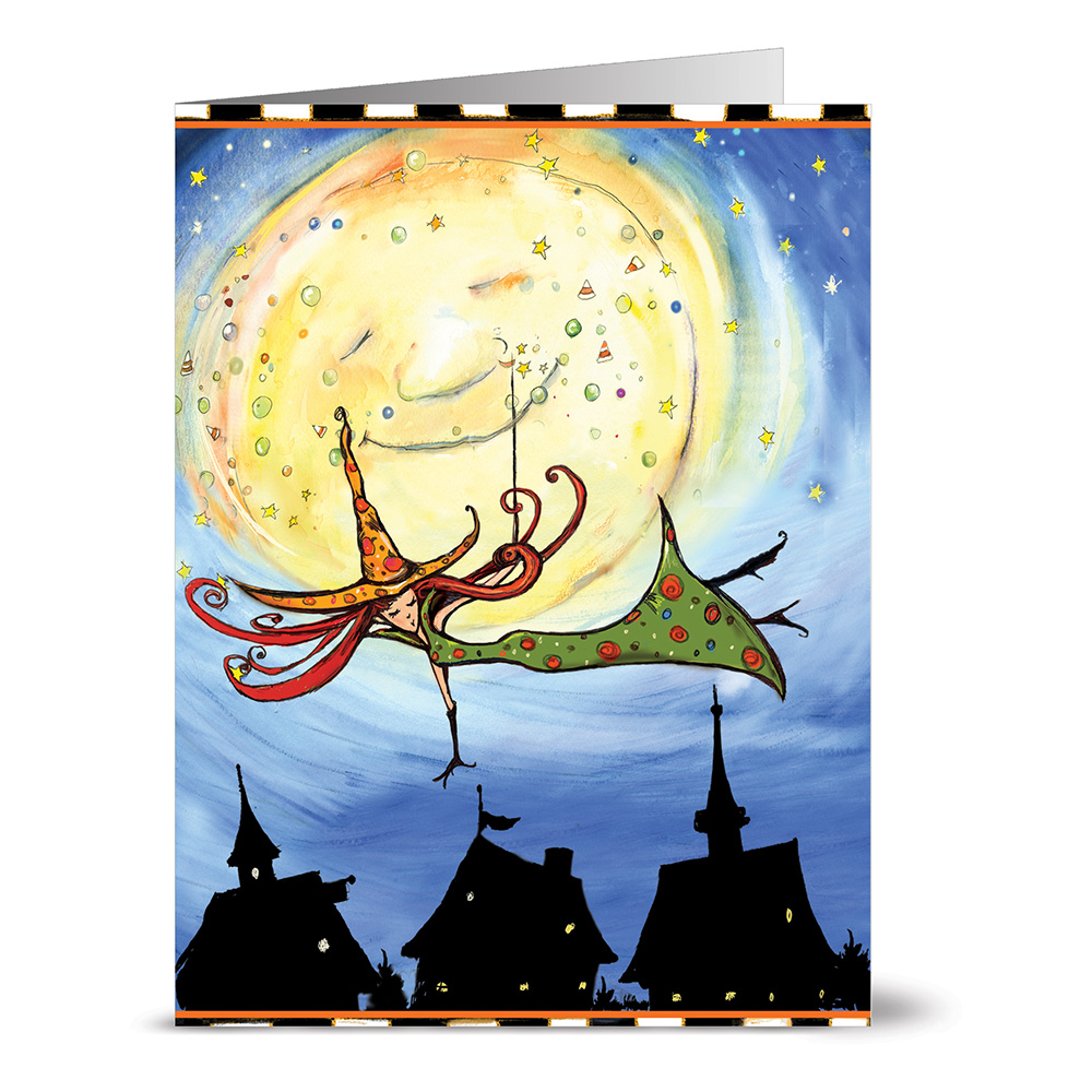 24 Note Cards - Witch in Green - Blank Cards - Kraft Envelopes Included