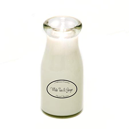 Milkhouse Creamery Soy Beeswax Scented Candle - White Tea and Ginger (8 Oz Milk Bottle) USA - Beer Bottle Candles