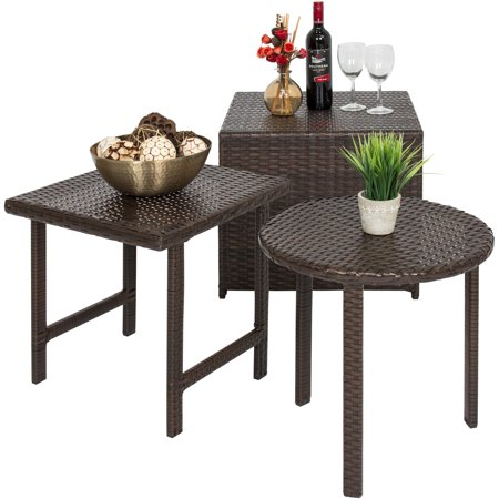 Best Choice Products Set of 3 Outdoor Furniture Wicker Tables w/ Square, Round, and Ottoman Table for Patio, Porch, Backyard, Garden -