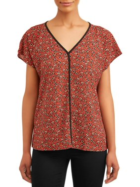 Short Sleeve Blouse With Pipping