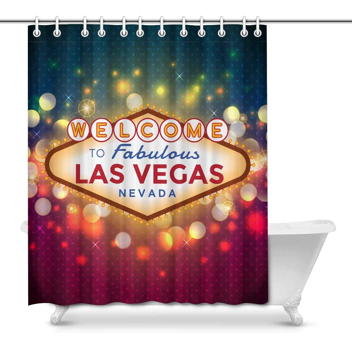 Mkhert Sparkling Las Vegas Sign American City Decor Waterproof Polyester Bathroom Shower Curtain Bath Decorations Hooks 66x72 Inch Walmart Com Walmart Com