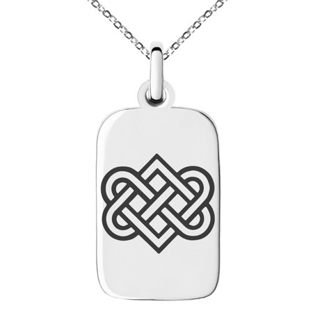 Stainless Steel Irish Heart Love Knot Engraved Small Rectangle Dog Tag Charm Pendant Necklace