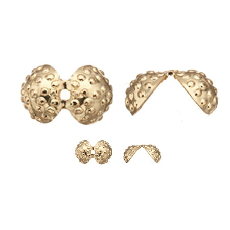 12x8mm Jet (Bead Cap, Gold-Finished Brass, Round Bead Clip With Granulation, 12x8mm Sold per pkg of)