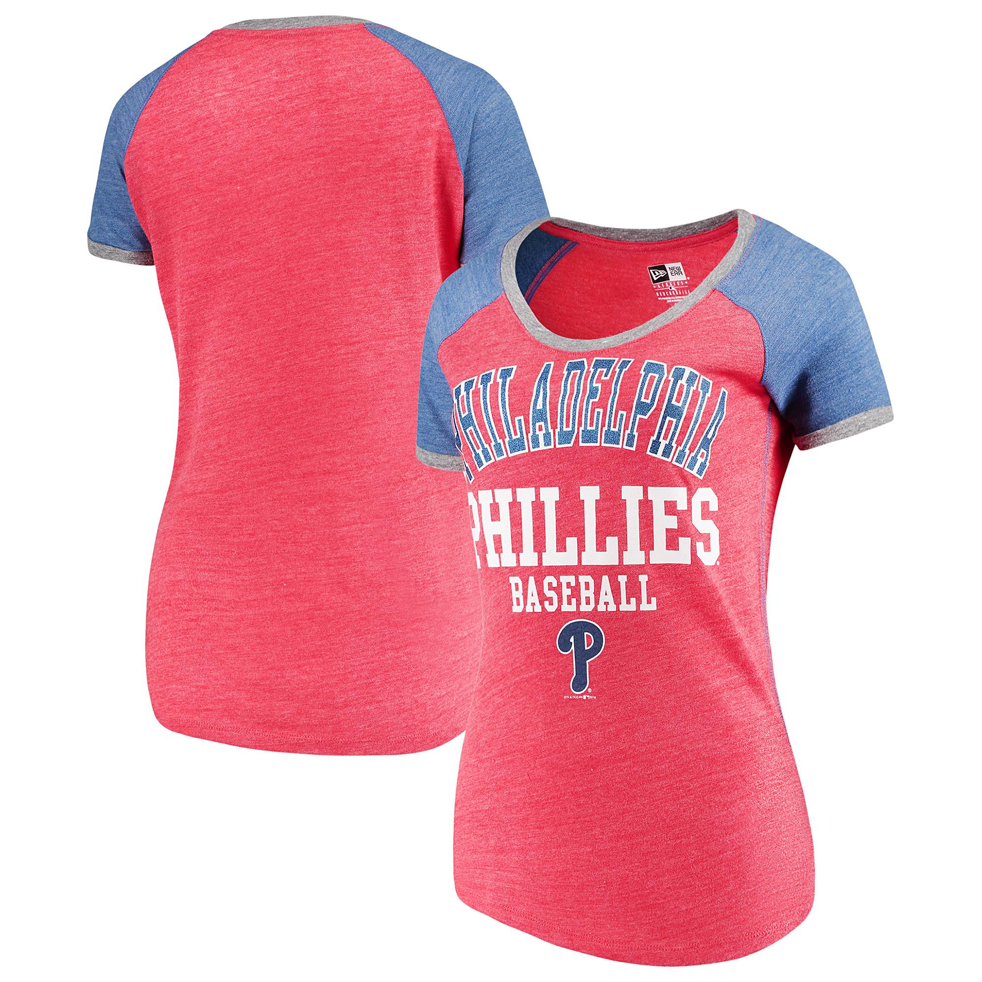 Philadelphia Phillies 5th & Ocean by New Era Women's Jersey Tri-Blend Raglan T-Shirt - Red