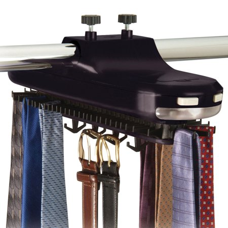 Revolving Motorized Lighted Tie & Belt Rack Hooks Organizer-holds 64 Ties