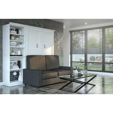 Bestar Versatile 3-Piece Full Wall Bed, Storage Unit and Sofa Set - White &