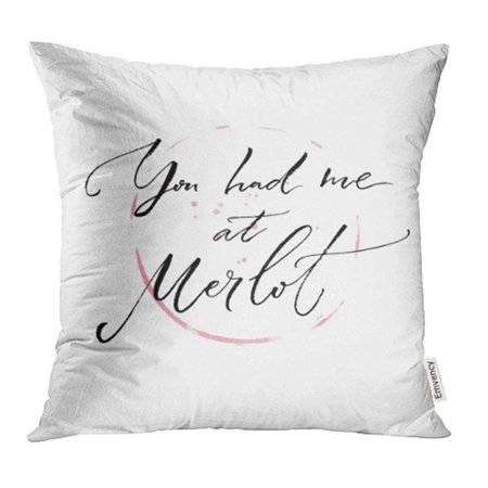 YWOTA You Had Me at Merlot Funny Quote About Wine Modern Calligraphy on Glass Trace Pillow Cases Cushion Cover 20x20 inch ()
