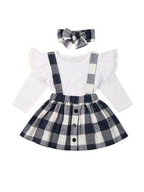 3PCS Kid Baby Girl Long Sleeve Lace T-Shirt Tops Plaid Bib Skirt Dress Headband Outfit Party Clothes