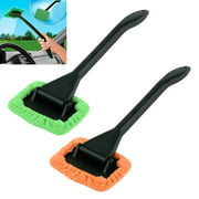 2 Microfiber Windshield Clean Car Auto Wiper Cleaner Glass Window Tool Brush Kit