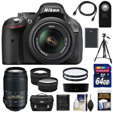 Nikon D5200 Digital SLR Camera & 18-55mm G VR DX AF-S Zoom Lens (Black) with 55-300mm VR Lens + 64GB Card + Battery + Case + Tripod + Tele/Wide Lenses + Remote + Accessory Kit