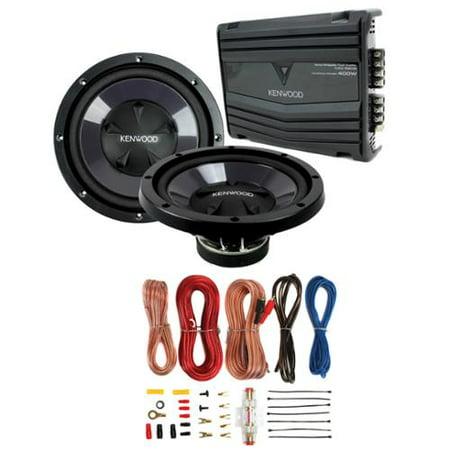 """2) Kenwood KFC-W110S 10"""" 1400W Car Subwoofers + KAC-5206 400W Amp + Amp Kit by"""