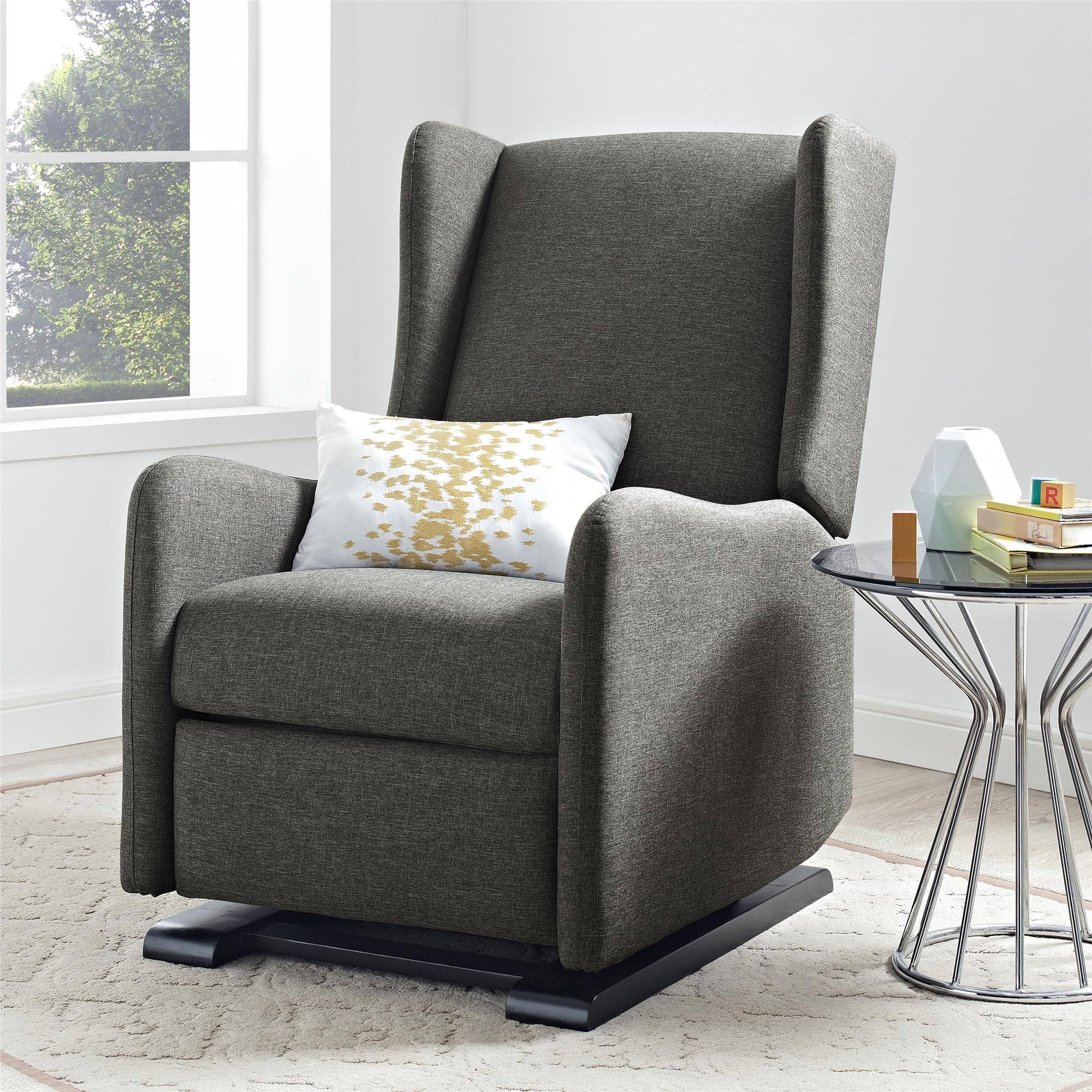 Baby Relax Rylee Wingback Gliding Recliner, Gray by Baby Relax