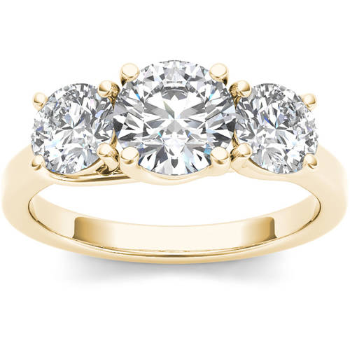 Imperial 2 Carat T.W. Diamond Three-Stone 14kt Yellow Gold Engagement Ring by Imperial Jewels