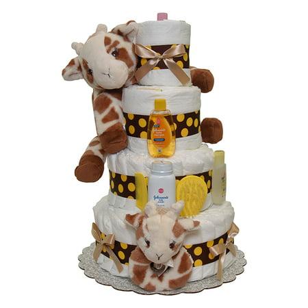 Giraffe Diaper Cake 4 Tiers