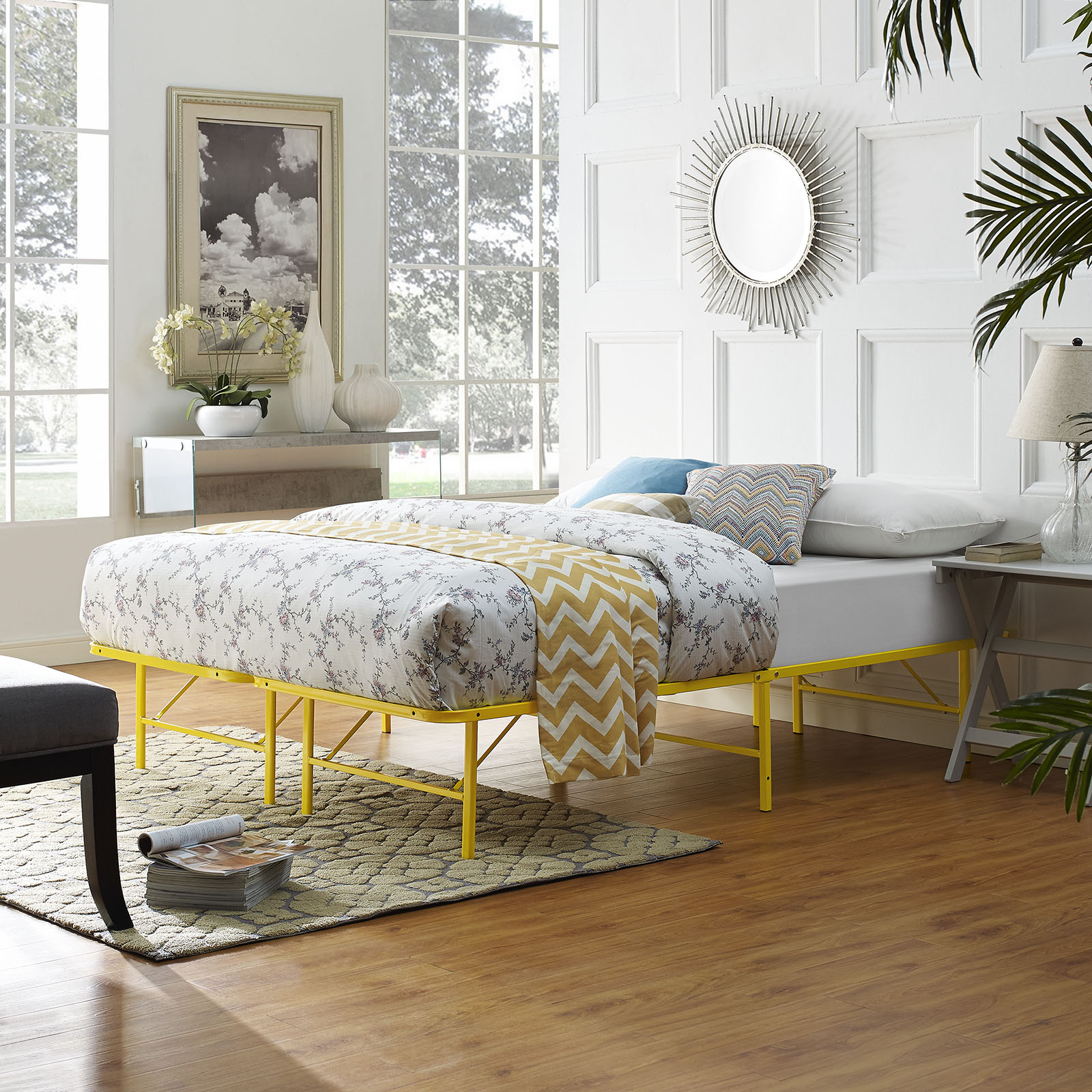 Modern Contemporary Urban Design Bedroom Queen Size Platform Bed Frame, Yellow, Metal Steel by Modà