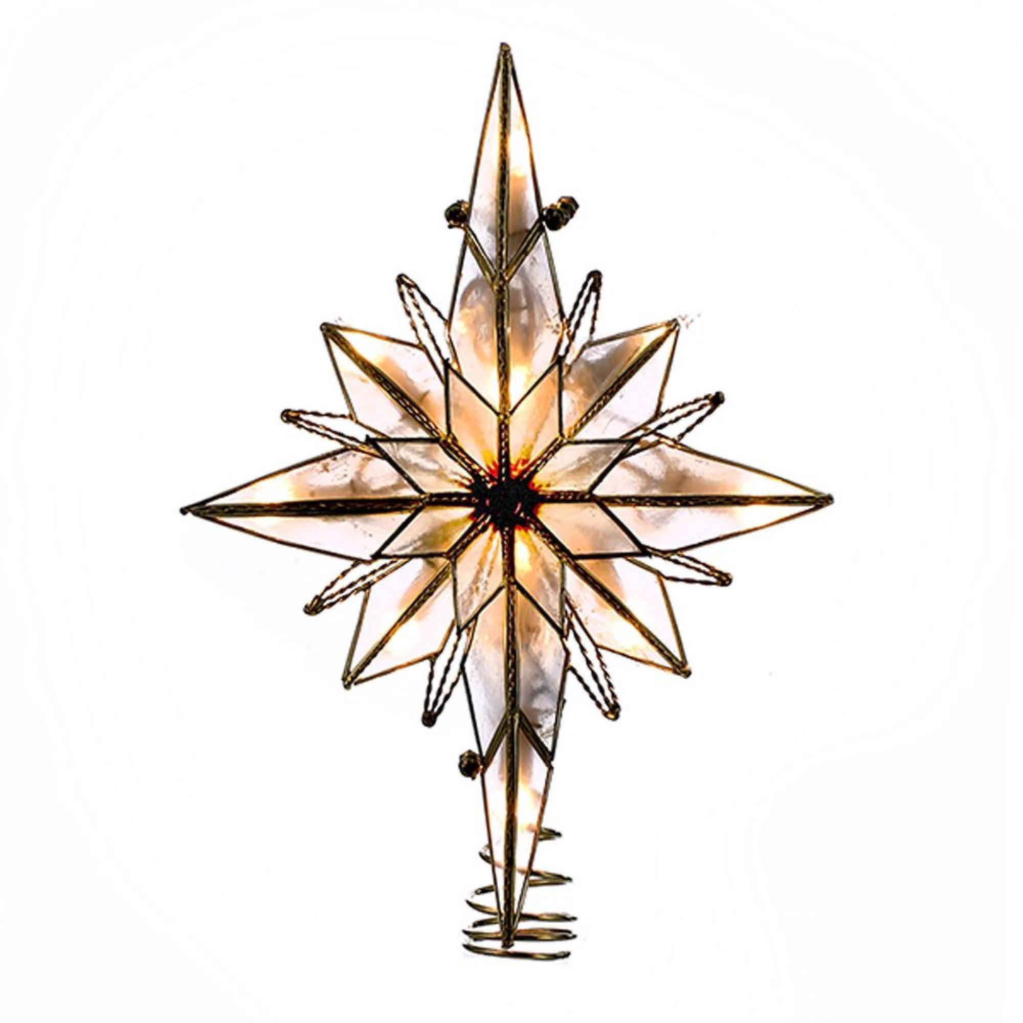 """10"""" Multi-Point Star of Bethlehem Glass Gem Christmas Tree Topper - Clear Lights"""