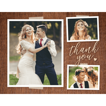 Brown Postcard - Personalized Wedding Thank You Postcard - Lovely Rustic Postcard - 4.25 x 5.5 Flat