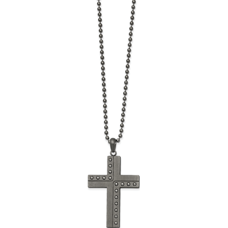 Stainless Steel Polished & Matte Finish Gun Metal IP Cross 22in Necklace Polished Steel Metal