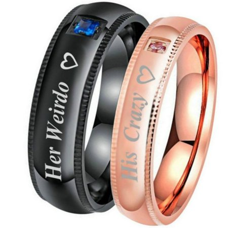 His Crazy Her Weirdo Jewelry Promise Ring Wedding Engagement Gifts