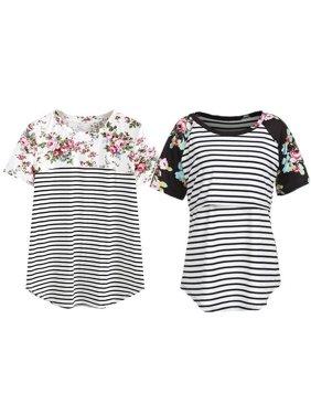 Women Maternity Breastfeeding Tops Short Sleeve Nursing T-shirt Splice Striped