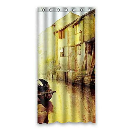 GreenDecor Beautiful Yangtze River Delta Retro Waterproof Shower Curtain Set with Hooks Bathroom Accessories Size 36x72 inches (Delta Bathroom Accessory Set)