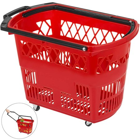 Large Red Shopping Carts with Handle Portable and Durable Shopping Baskets-Set of 1(21 X 14 X 13 inch) Product Description Here we offer you a red shopping basket. This hand basket have bright red color for easy visibility. Our basket is lightweight and comes with one pull-out handle and one carrying handle. Four casters allows you to move the basket on ground. Our shopping basket is a convenient way for your customers to carry or moving their merchandise and for merchant to increase their sales. Specification Color: Red Material: PP Dimension(LxWxH): 53x33.5x36cm/21x13.2x14.3in Load: 34kg/75LBS Large Load Durable Material Two Foldable Handles 4 Swivel Casters Package Content: 1 x Red Shopping Basket Feature 75 Pounds Accommodation PP Material Two-handle Option Smooth Swivel Wheels Package Content:  1 x Red Shopping Basket