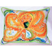 Betsy Drake HJ083 Orange Octopus Large Indoor-Outdoor Pillow 16 in. x 20 in.