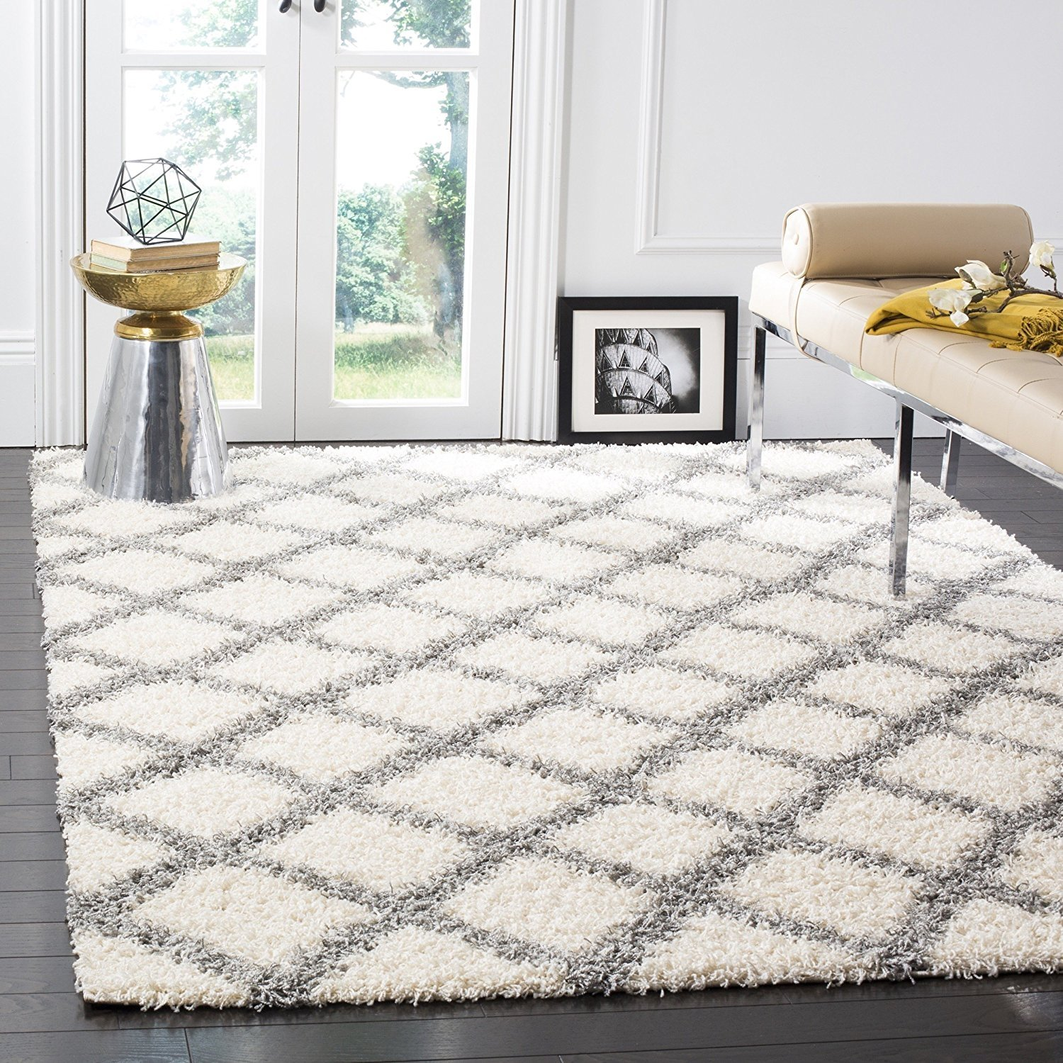 Safavieh Dallas Shag Collection Sgd258f Ivory And Grey Area Rug 6