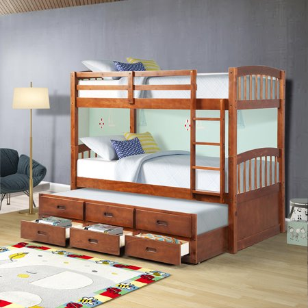 Bunk Beds Twin Over Twin, Classic Twin Kids Beds, Stable Twin Bunk Beds with Four-step Ladder, Guardrails, Trundle Twin, 3 Storage Drawers for Kids Twin Room, 79