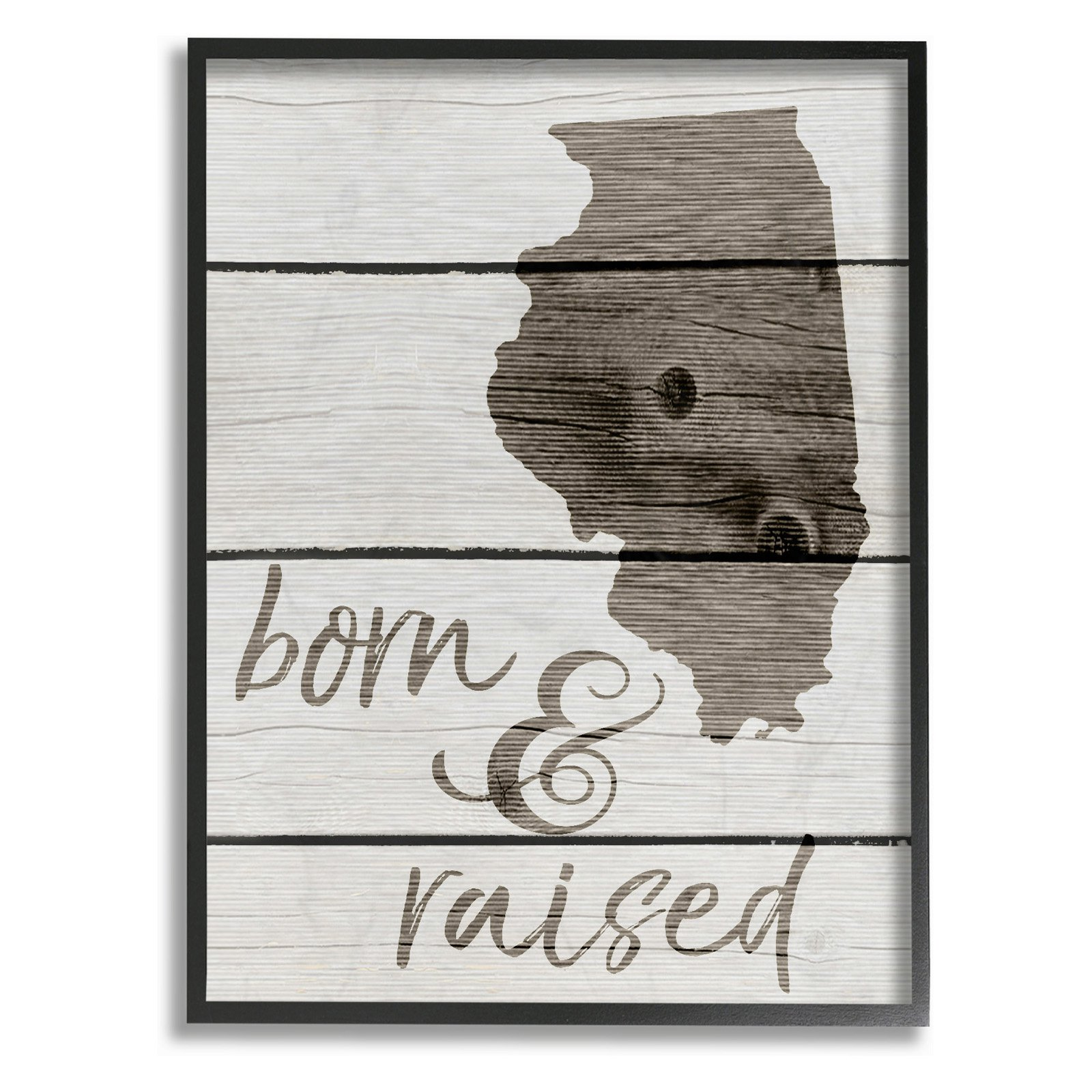 The Stupell Home Decor Collection Born And Raised Illinois Framed Giclee Texturized Art, 11 x 1.5 x 14