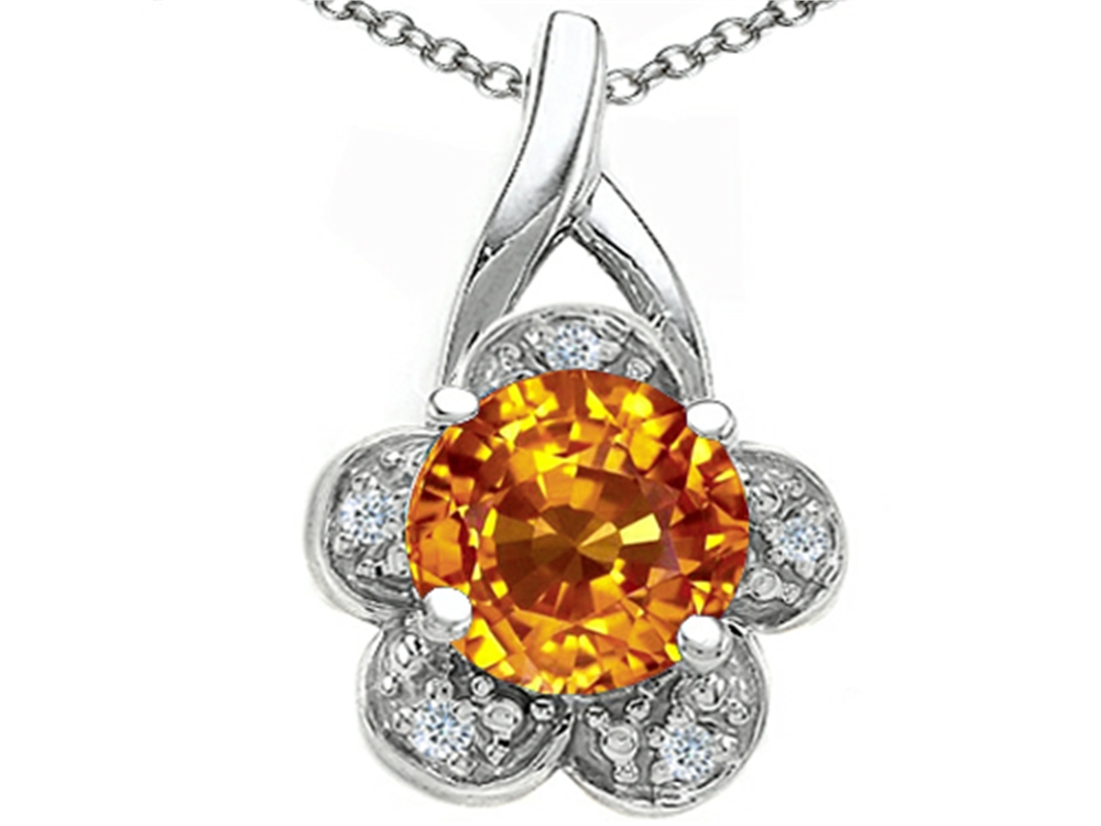 Tommaso Design Round 7 mm Genuine Citrine Flower Pendant Necklace by