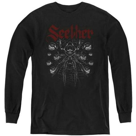 Trevco Sportswear BAND404-YL-1 Seether & Arachnoid-Youth Long Sleeve T-Shirt, Black - Small - image 1 de 1