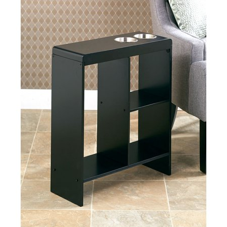 Slim End Tables with Drink Holders Black ()