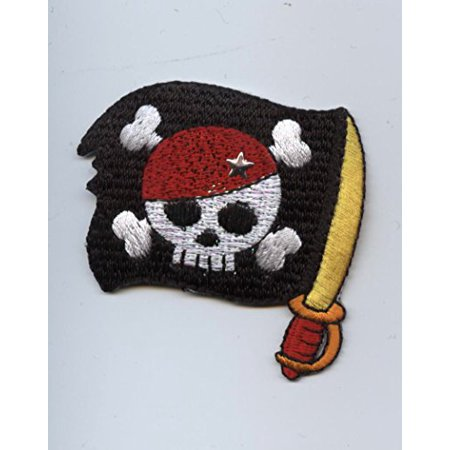 Pirate Skull - Sword/ Black Flag - Iron on Applique/Embroidered Patch
