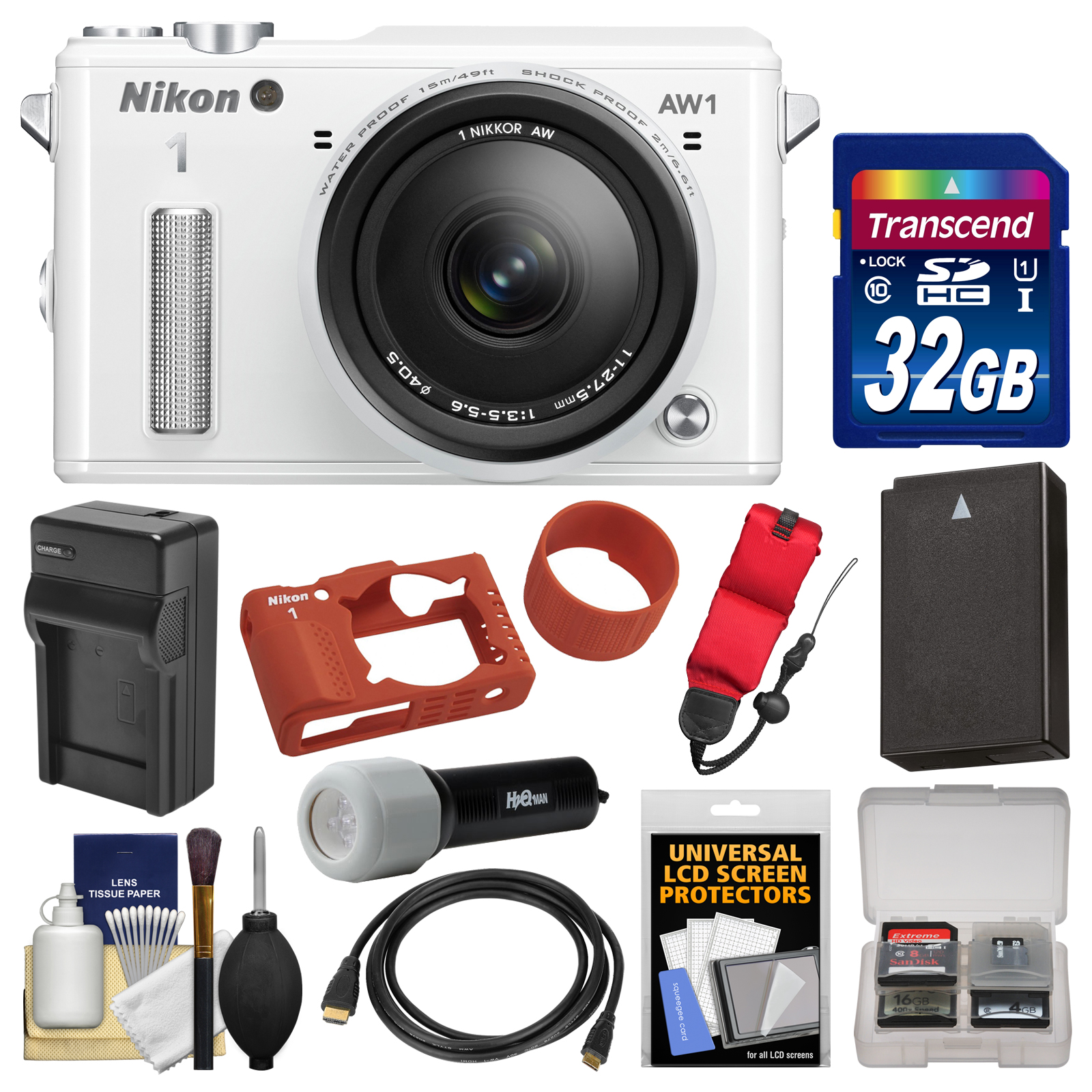 Nikon 1 AW1 Shock & Waterproof Digital Camera Body with AW 11-27.5mm Lens (White) with 32GB Card + Silicone Case + Battery & Charger + LED Torch + Kit