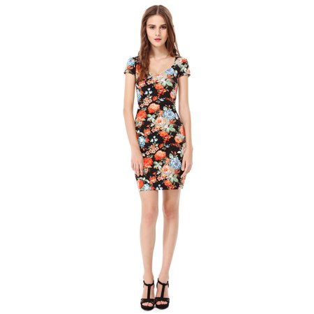 Ever-Pretty Womens Sexy Fitted Short V Neck Floral Print Cocktail Party Summer Casual Sheath Dresses on Clearance for Women 05551 US 4 ()