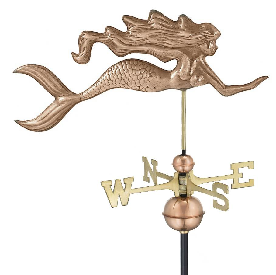 Good Directions Mermaid Weathervane, Polished Copper by Good Directions