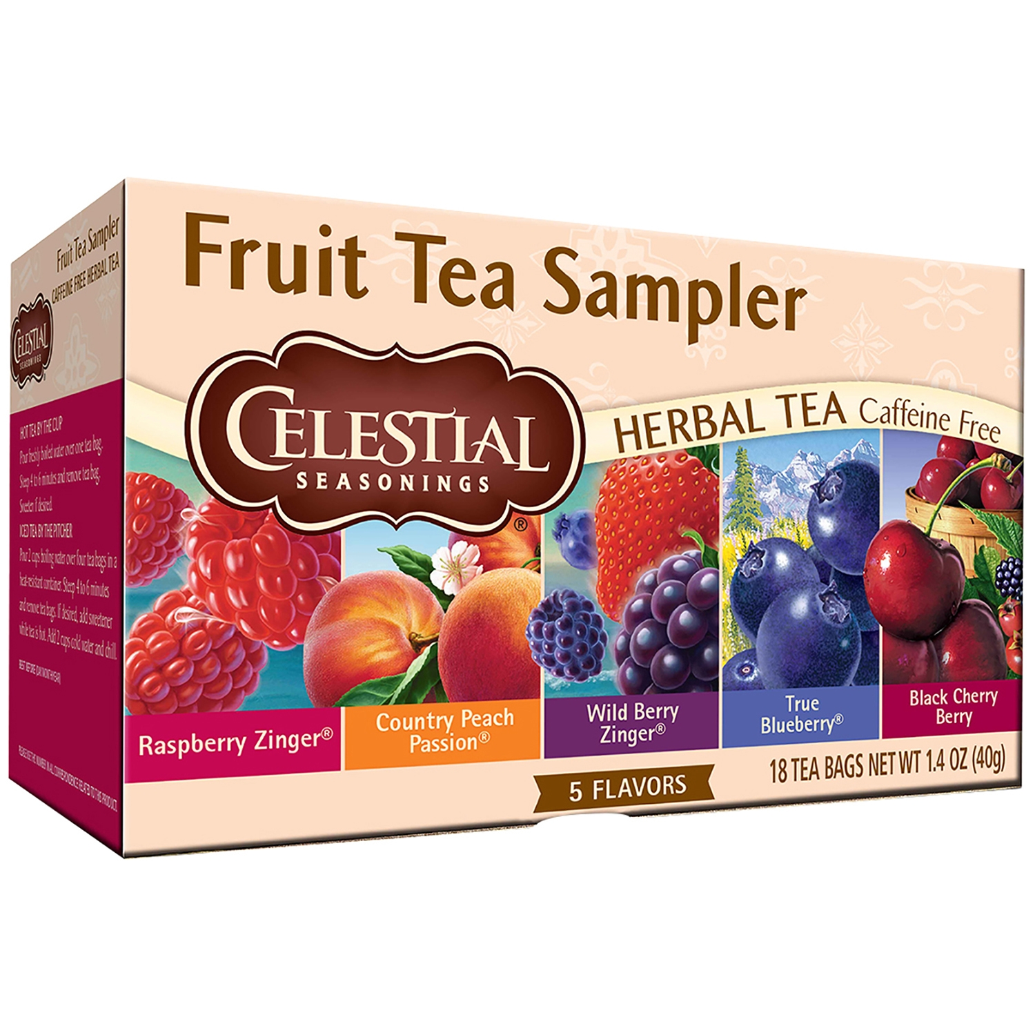 Celestial Seasonings Fruit Tea Sampler, Herbal Tea, Tea Bags, 18 Ct