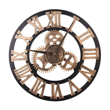 40cm 3D Gear Design Roman Numeral Wall Clock Living Room Hotel Decoration Non-ticking Wooden Large Clock ()