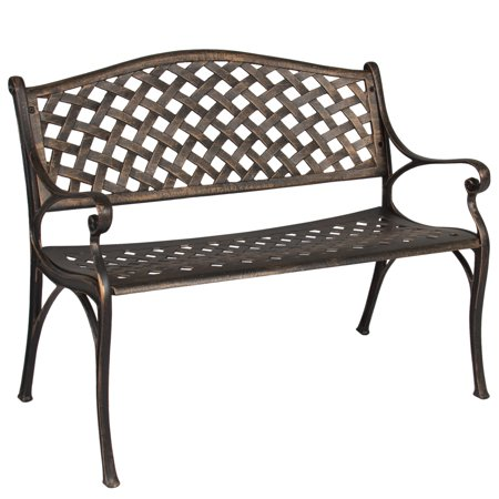 Best Choice Products Outdoor Aluminum Patio Bench Accent Furniture Decor w/ Antique Brushed Copper Finish, Lattice Detail - -