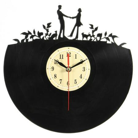 Love Couple Vinyl Record Clock Acrylic Bedroom Wall Clock Romantic Gift Decor - image 2 of 6