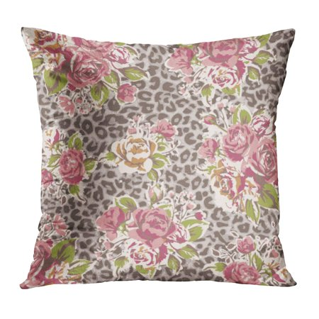 Leopard Roses - ECCOT Pink Flower Rose Leopard Colorful Pattern Tropical Summer Oriental Abstract Pillow Case Pillow Cover 20x20 inch