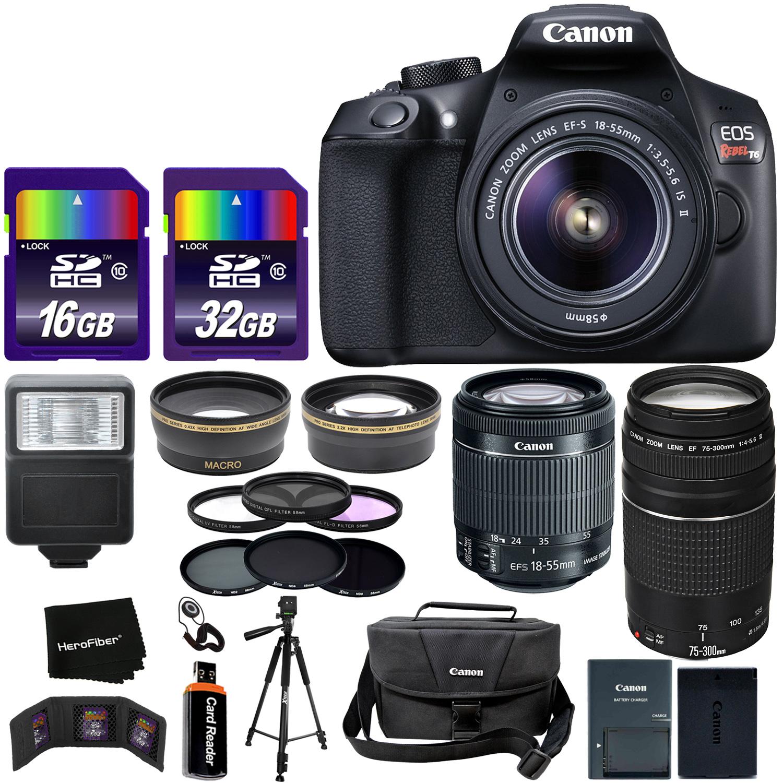 Canon EOS Rebel T6 Digital SLR Camera Body + EF-S 18-55mm Lens + 75-300mm III Zoom Lens + Telephoto & Wide Lenses + Canon Case + Flash + ND & UV Filter Set + 48GB SD Memory + Tripod