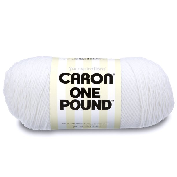 Caron White Acrylic No Dye One Pound Yarn Skein, 812 Yards long