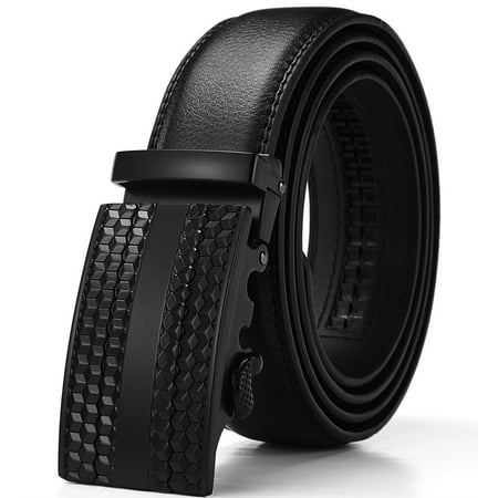 Men's Solid Buckle with Automatic Ratchet Leather Belt 35mm Wide 1