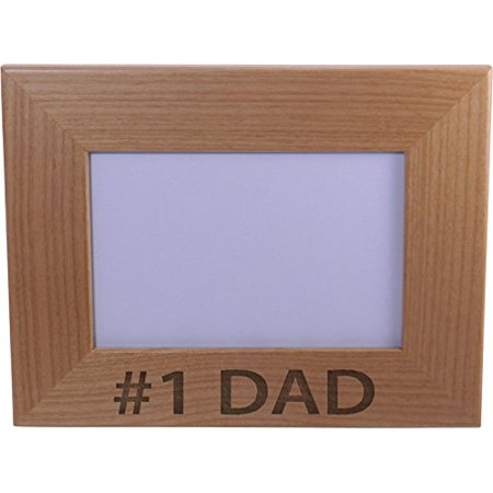 Fathers Day Frames (#1 Dad 4x6 Inch Wood Picture Frame - Great Gift for Father's Day Birthday or Christmas Gift for Dad Grandpa Papa)