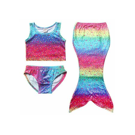 Sweat Suit Halloween Costume Ideas (Hirigin 4-8Y Kids Girls Mermaid Tail Swimmable Bikini Set Swimwear Swimsuit Swimming)