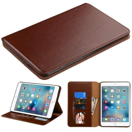 Insten Premium Slim fit Leather Stand Case for Apple iPad 4 Mini 4th Gen 2015 (with Card Slot Holder) Brown